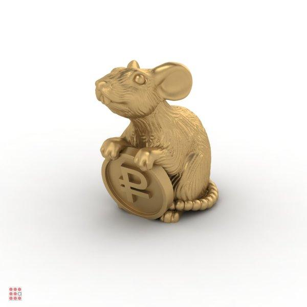 Кошельковая мышь с монетой