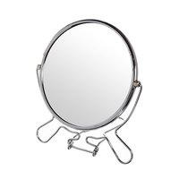 """Зеркало настольное круглое двухстороннее 6"""" металл"""