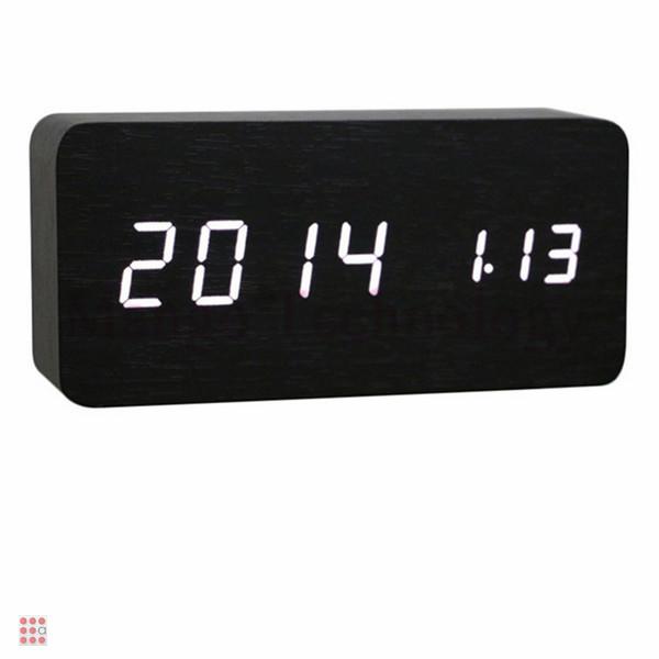 Электронные часы в деревянном корпусе VST-862-6 белые цифры