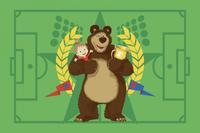 """Детский велюровый ковёр Маша и Медведь """"Чемпион"""", 1х1,5 м"""