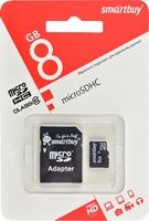 Карта памяти microSD Smartbuy 8GB + адаптер SD Class 10